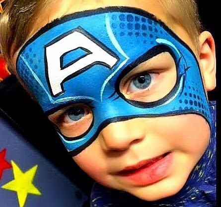 Niños pintacara capitán America